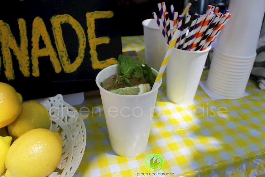 Disposable paper cups and straws