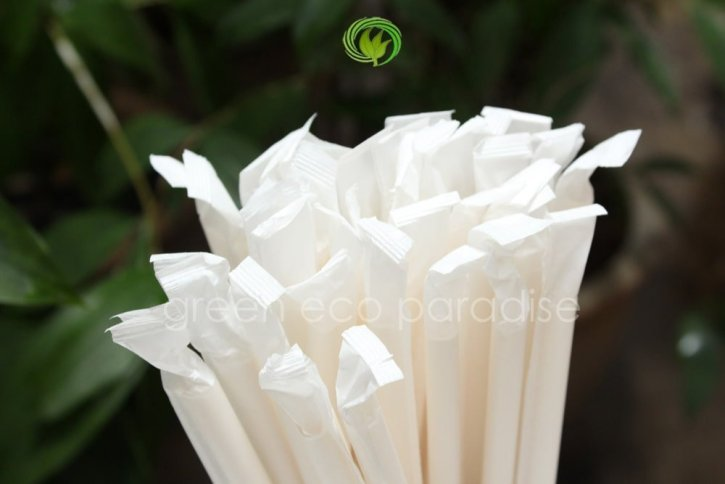 Paper straw with wrapper is what you need
