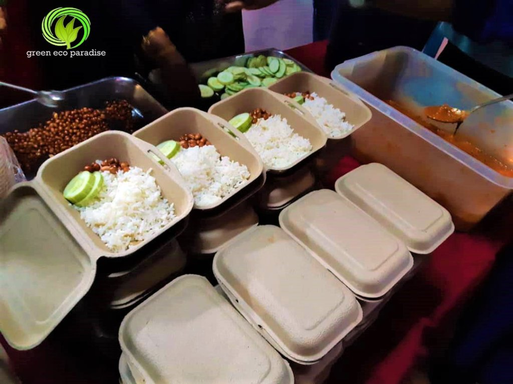 Nasi lemak served in eco friendly food box