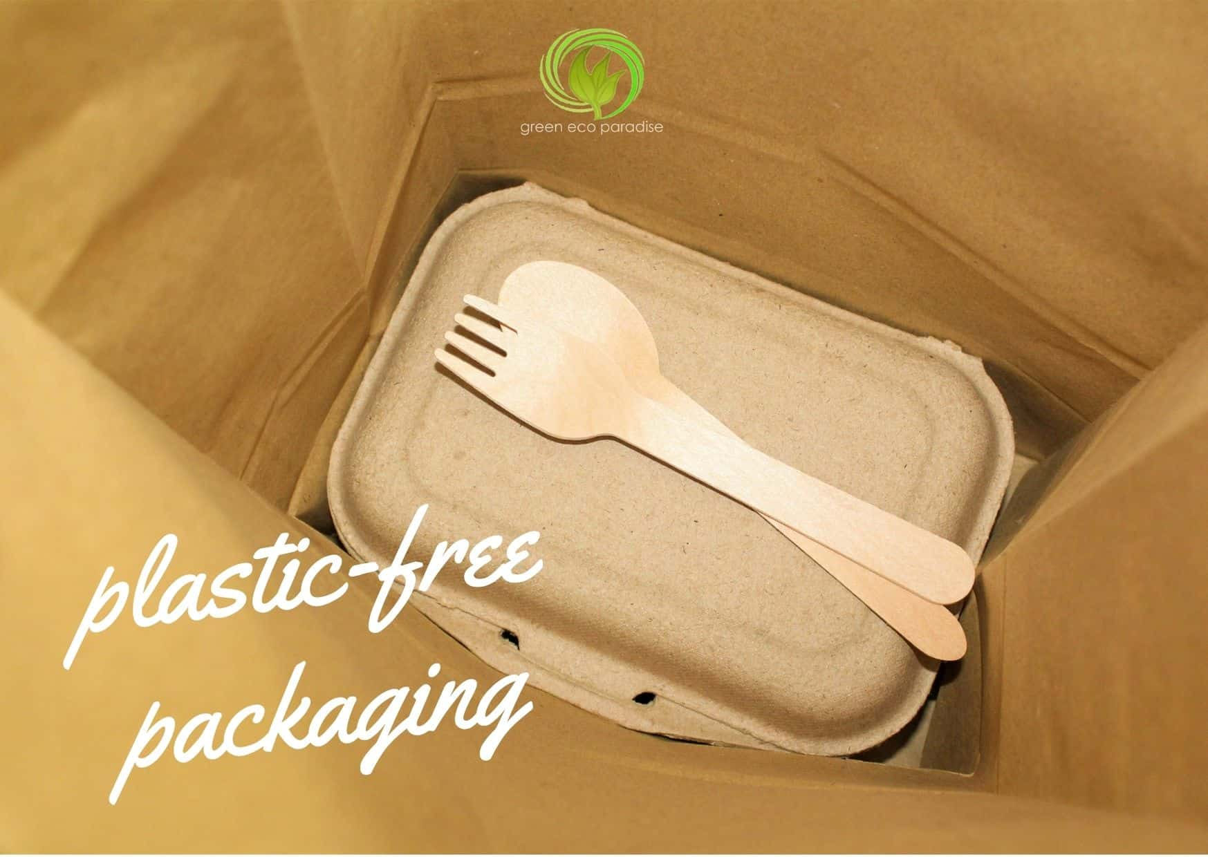 A biodegradable lunch box, wooden fork and spoon in a paper bag.