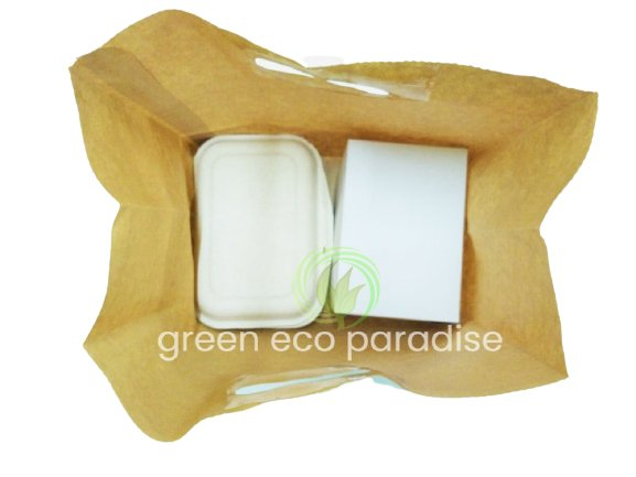 Bio lunch box and cake box in the paper bag