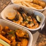 Spaghetti Arabiatta and Fish and Chips in our 850ml biodegradable lunch box. Credit: Heap Seng at 29.