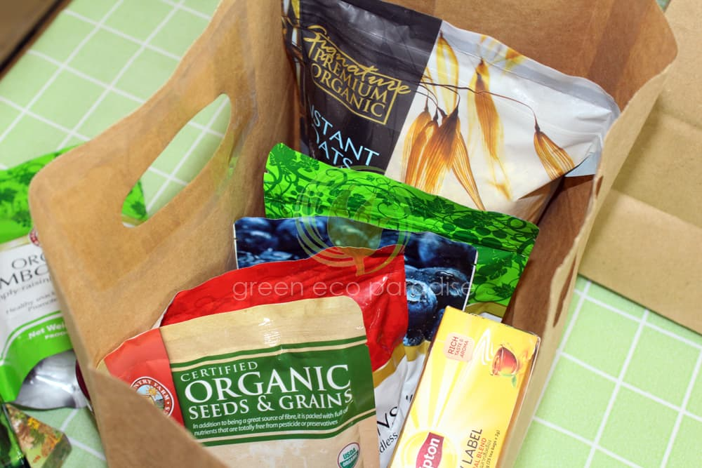 Organic items nicely placed in our paper bag with handle. The ideal organic shop in Penang too.