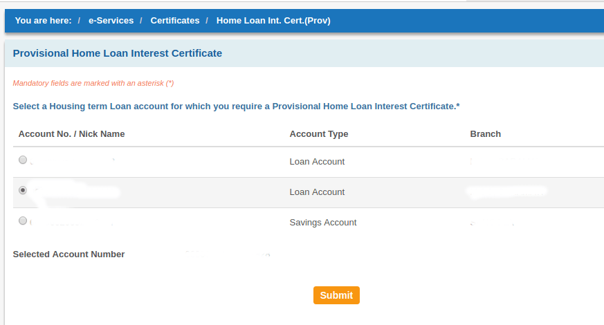 How to download home loan provisional interest certificate for State Bank of India ( SBI )