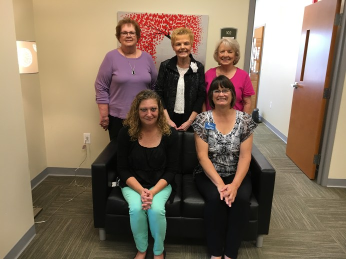Presentation of Women Of Worth grant awards, Back, L-R: Mary Lou Quiel, Linda Haseman, & Carolyn Crichfield, WOW; front, L-R: Christa Turpin, Middle Way House; Sheila Corey, Open Arms