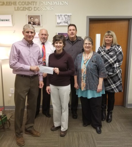Board of Realtors/Greene County Grant presentation; L-R: John Wells, Greene County Foundation Board President; Kevin Cade, Bloomington Board of Realtors; Shaye Place, Pregnancy Choices Director; Mark Bush, BBOR; Juli Harding, BBOR; Kim Chaudion, BBOR