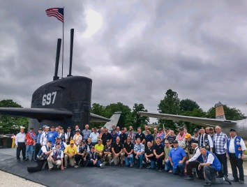 Veterans and honorees at the completed USS Indianapolis SSN 697 Monument in Vincennes, Indiana