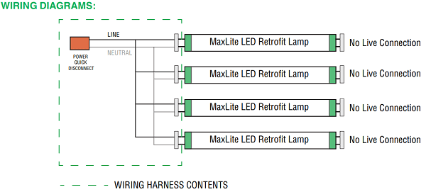 hps ballast wiring diagram gibson es 335 maxlite g13kit4 1409029 four 4 socket t8 harness non and additional sockets all components within this kit are ul recognized if your retrofit calls for more than lamps see related items below