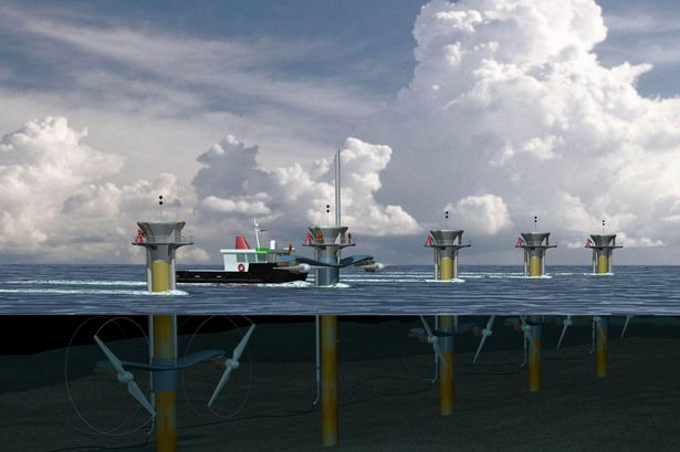 Artist's impression of tidal stream turbines developed by Marine Current Turbines of Bristol