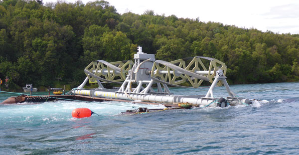 ORPC's RivGen Power System in Igiugig before being submerged for operation