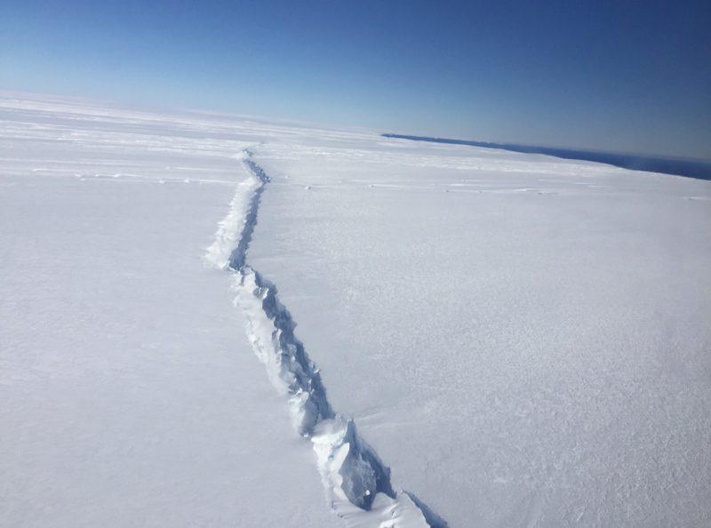 Rift in Antarctic glacier twenty miles from the sea