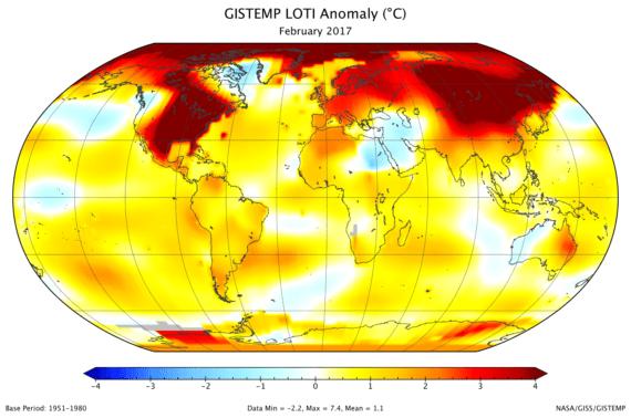 February 2017 land-ocean temperature index