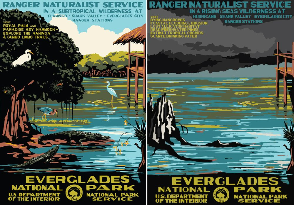 National Park posters, now and then