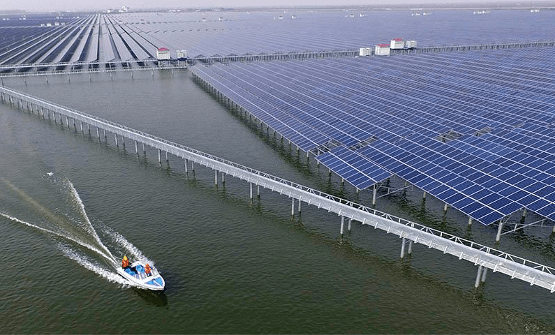 Fish farming and solar power (Photo: CFP)