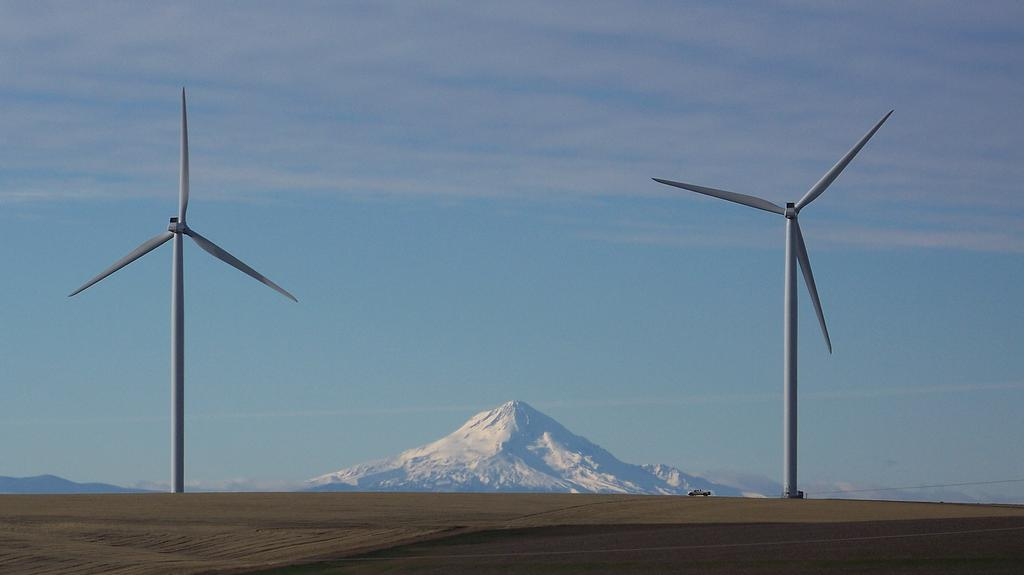 Biglow wind farm and Mount Hood