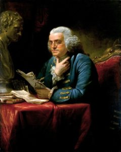 """""""Our new Constitution is now established, and has an appearance that promises permanency; but in this world nothing can be said to be certain, except death and taxes."""" Benjamin Franklin, 1789. Portrait painted in 1767 by David Martin (1737-1797)"""