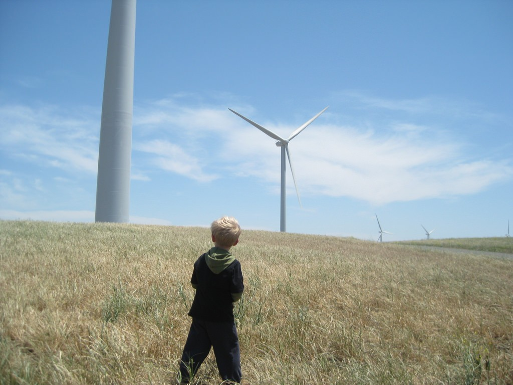Child looking at wind turbines (Image: Ben Paulos, CC BY 2.0)