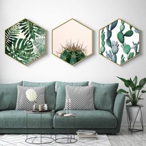 Hexagon Green Plant Painting Wall Art Apartment Living [tag]