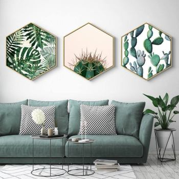 Hexagon Green Plant Painting Wall Art Apartment Living