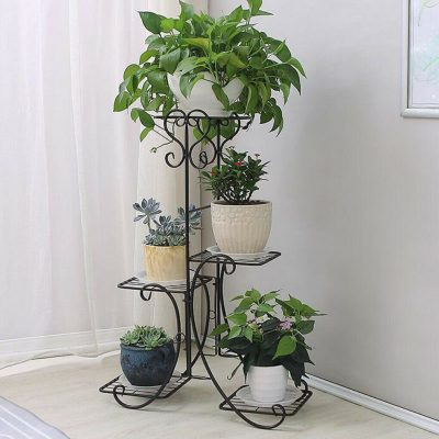 Wrought Iron Tall Pot Stand Apartment Living
