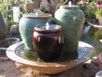 Triple Ceramic Pot Fountain - Green Goddess
