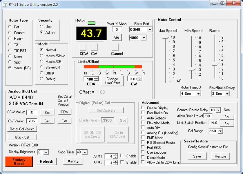 GH-Setup Utility Chart - Green Heron Engineering