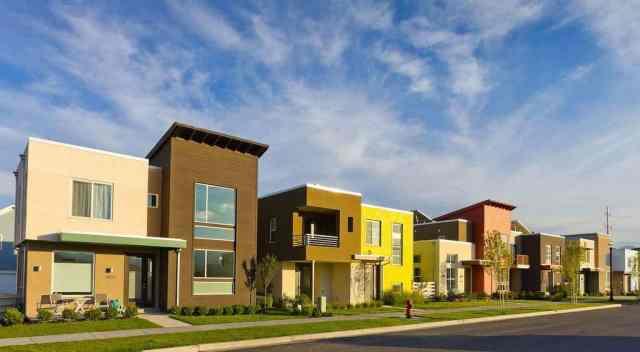 Energy-efficient houses on street in Daybreak, Utah