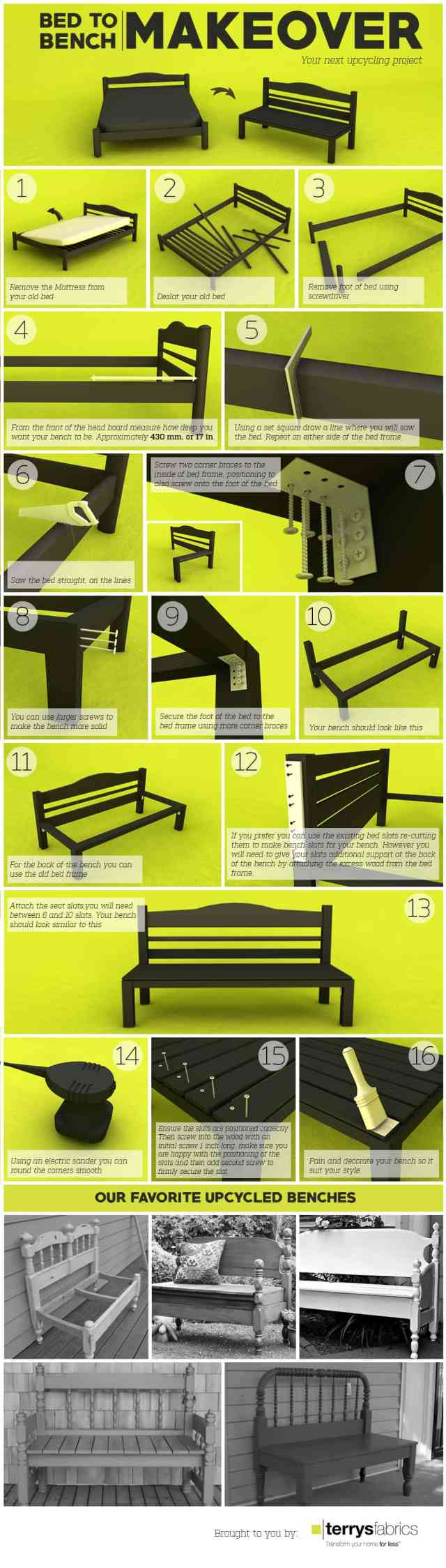 Upcycling project - Make a bench from a bed