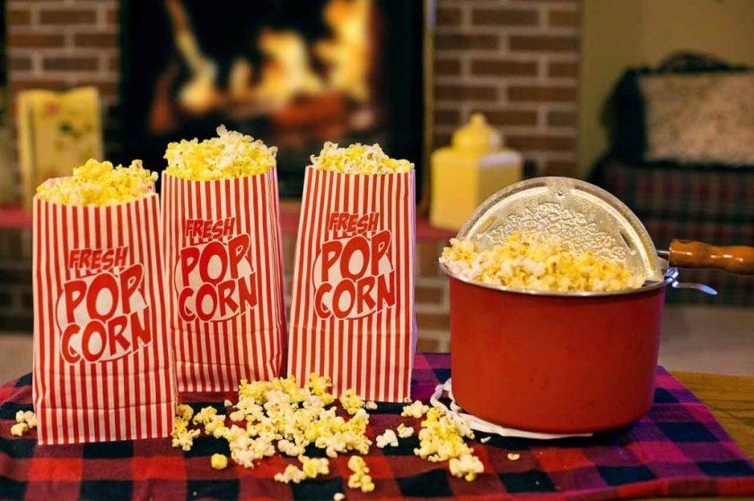 popcorn bar is a great shower food idea