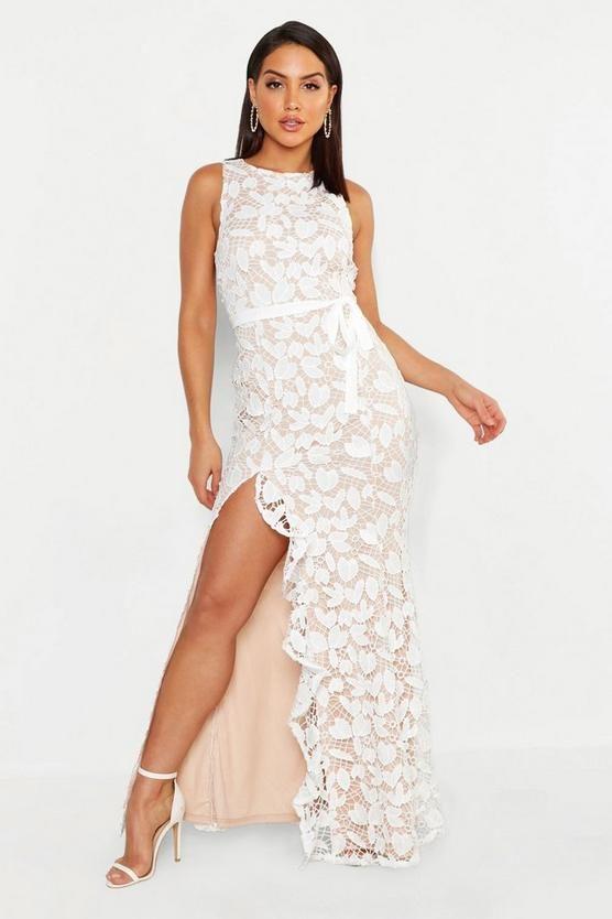 Lace ruffle split maxi white bridal shower dresses for the bride