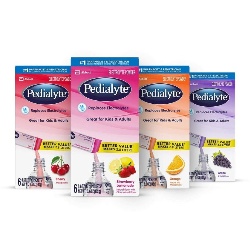 Pedialyte powder packs are perfect to have in the bachelorette oh shit kit