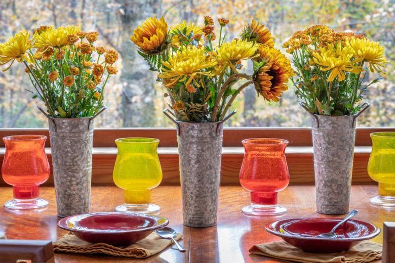 Rustic metallic flower vases