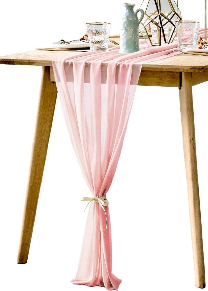 Gauze table runners are great bridal shower ideas