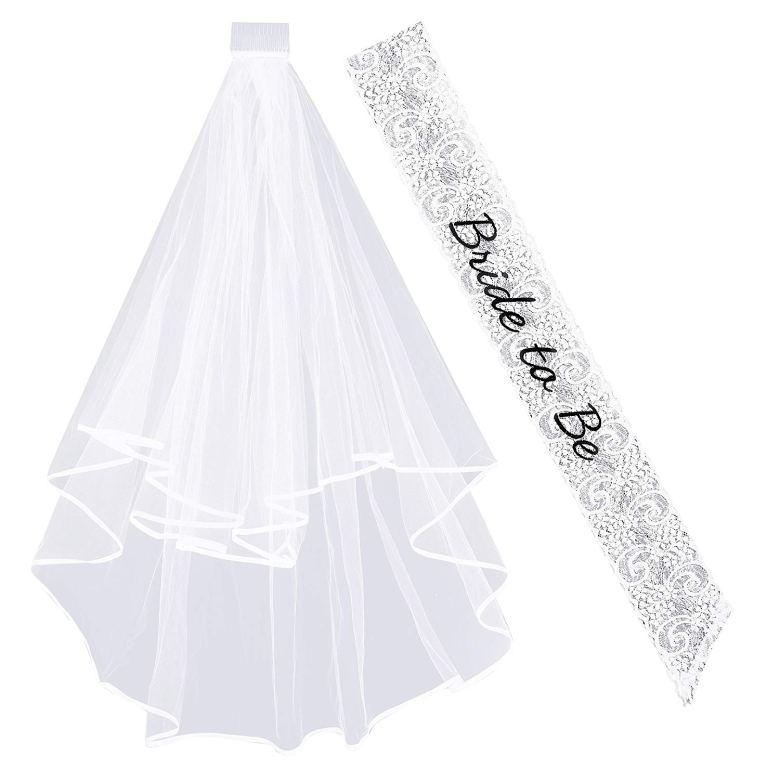 Bachelorette party sash and veil