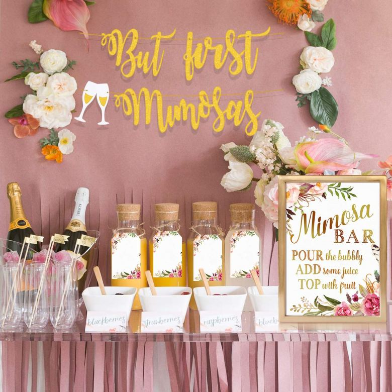 Mimosa bar decoration for brunch bridal shower themes