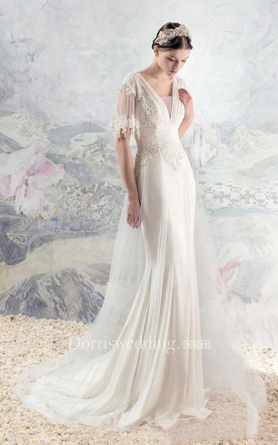 V neck lace and tulle wedding dress