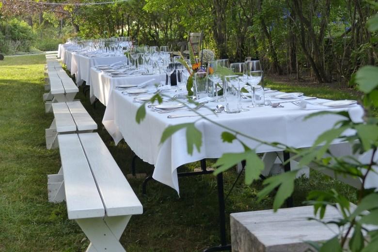 Backyard wedding set up