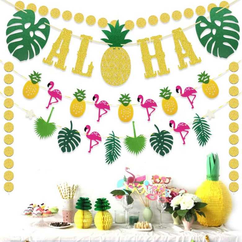 Tropical party themed decorations
