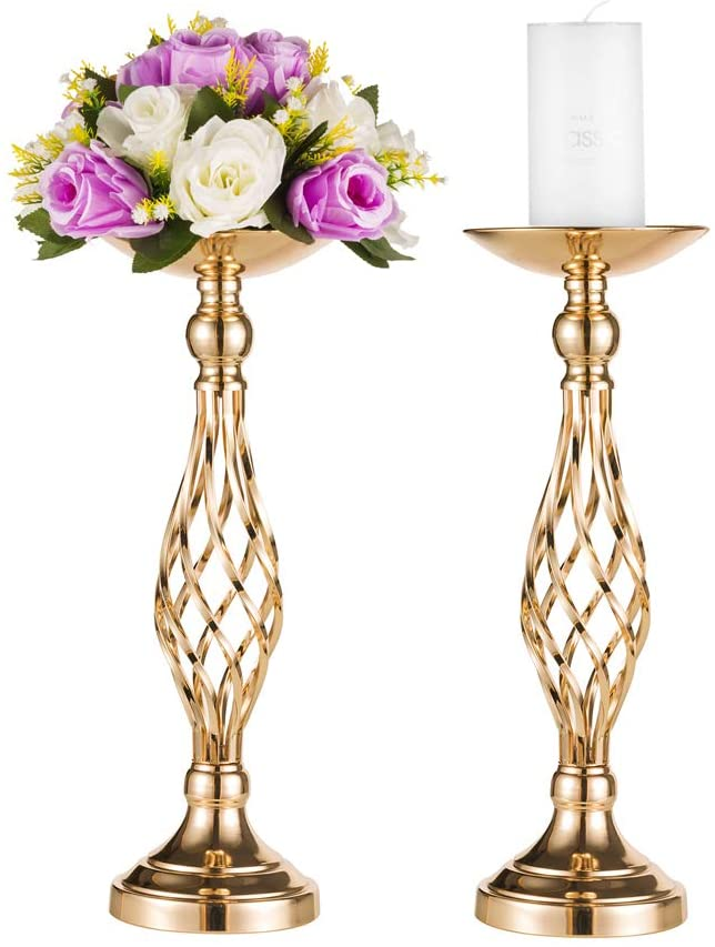 Metal Flower Arrangement & Candle Holder for Wedding Centerpiece