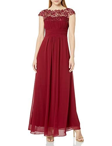 Cap Sleeve Lace Neckline Ruched Gown