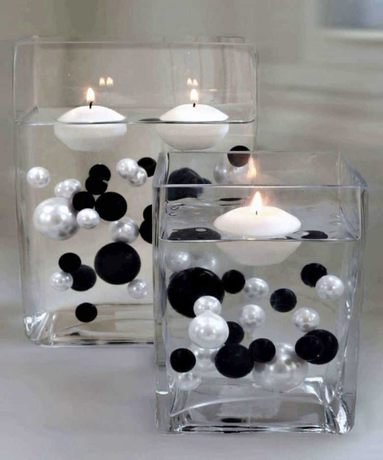 Floating Black & White Pearls with Matching Gems Vase Decorations & Table