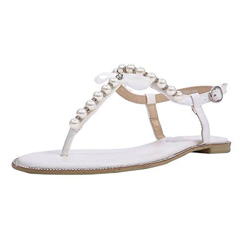 SheSole Women's Pearl T-Strap Beach Wedding Sandals