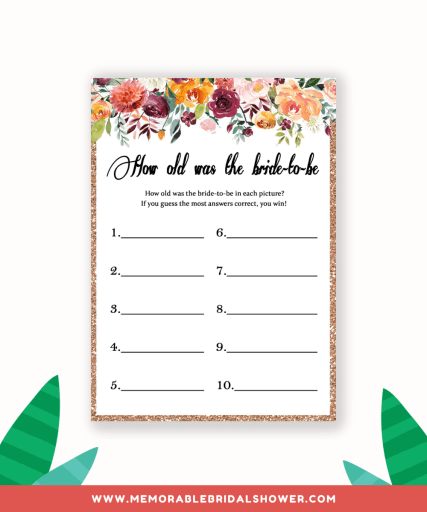 How old was the bride shower game from greeninmay.com