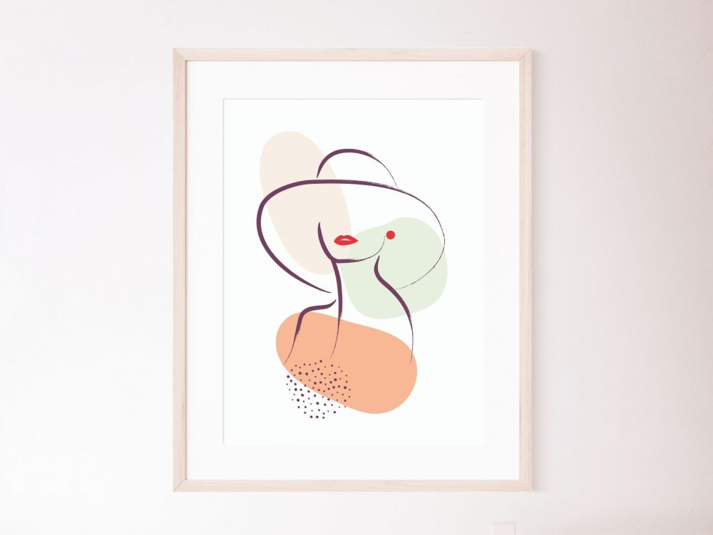 Set of 3 chic woman with hat line art