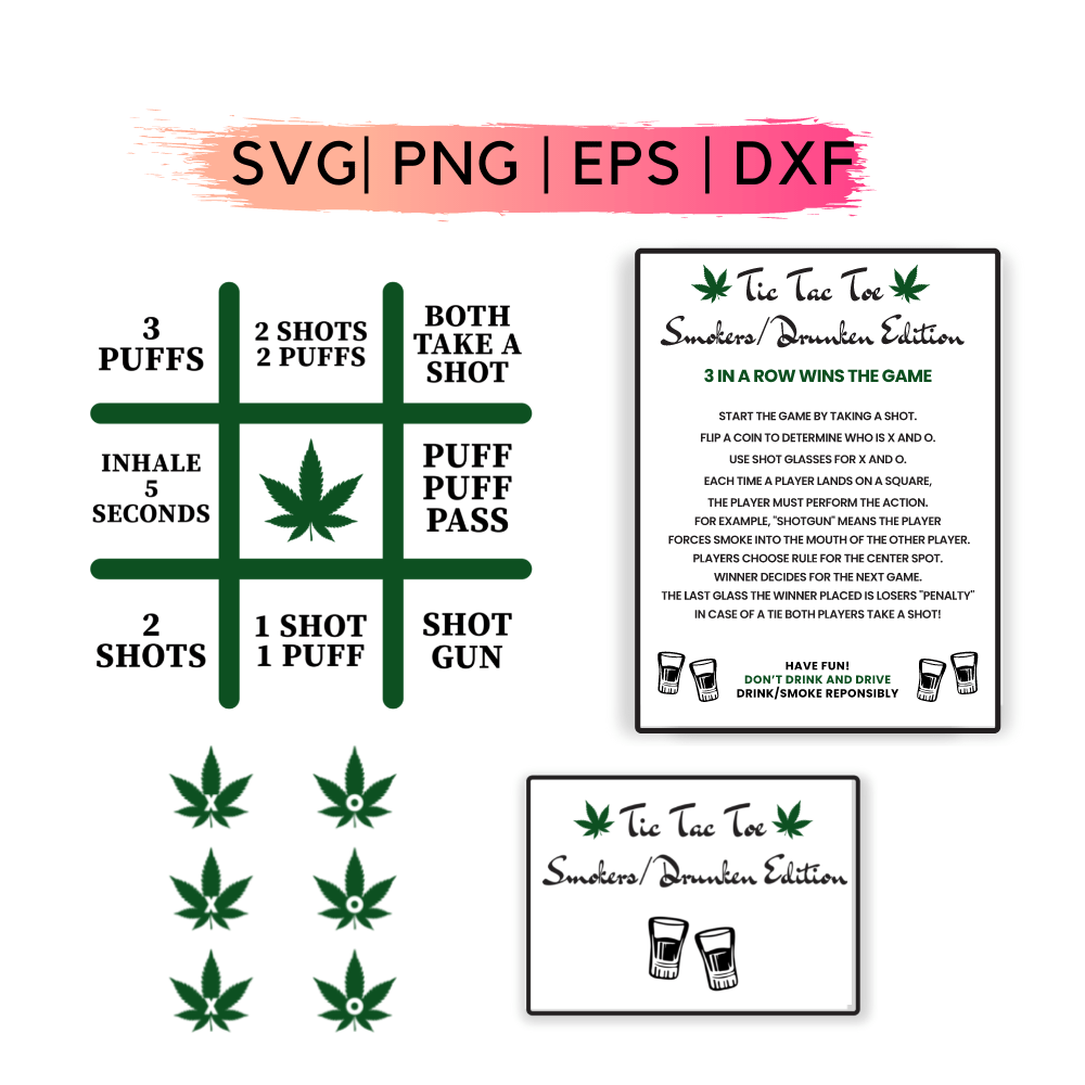 Smokers and Drunken Tic Tac Toe Svg
