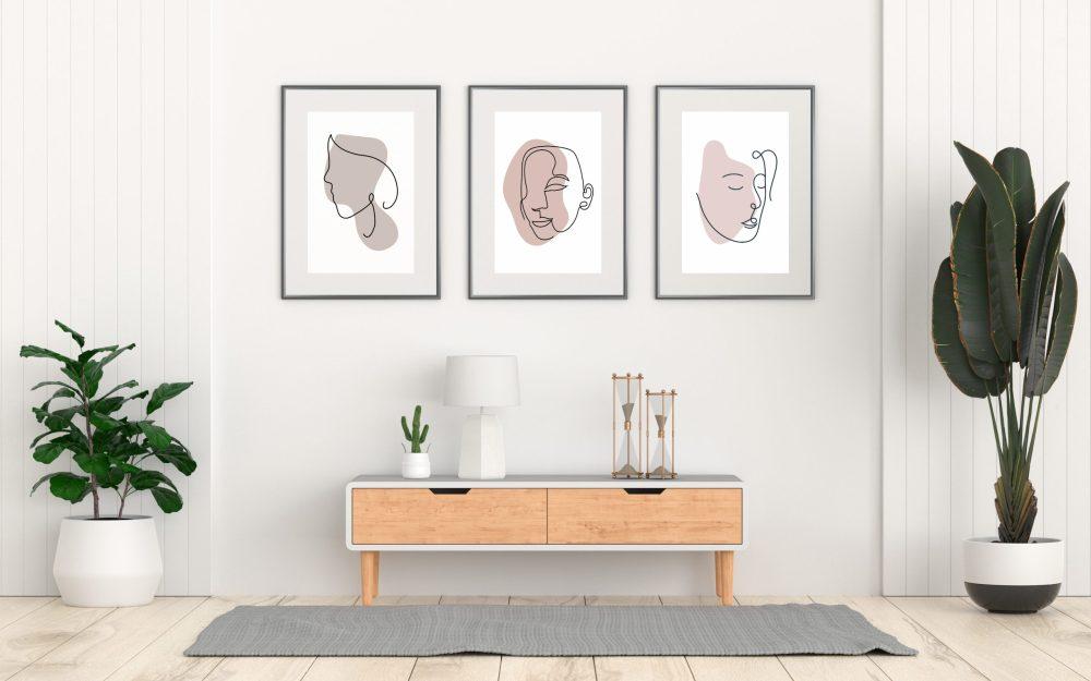 Faces with color line art prints
