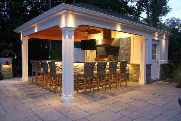 pool house with outdoor kitchen Custom Carpentry | Cabanas & Pool Houses Long Island
