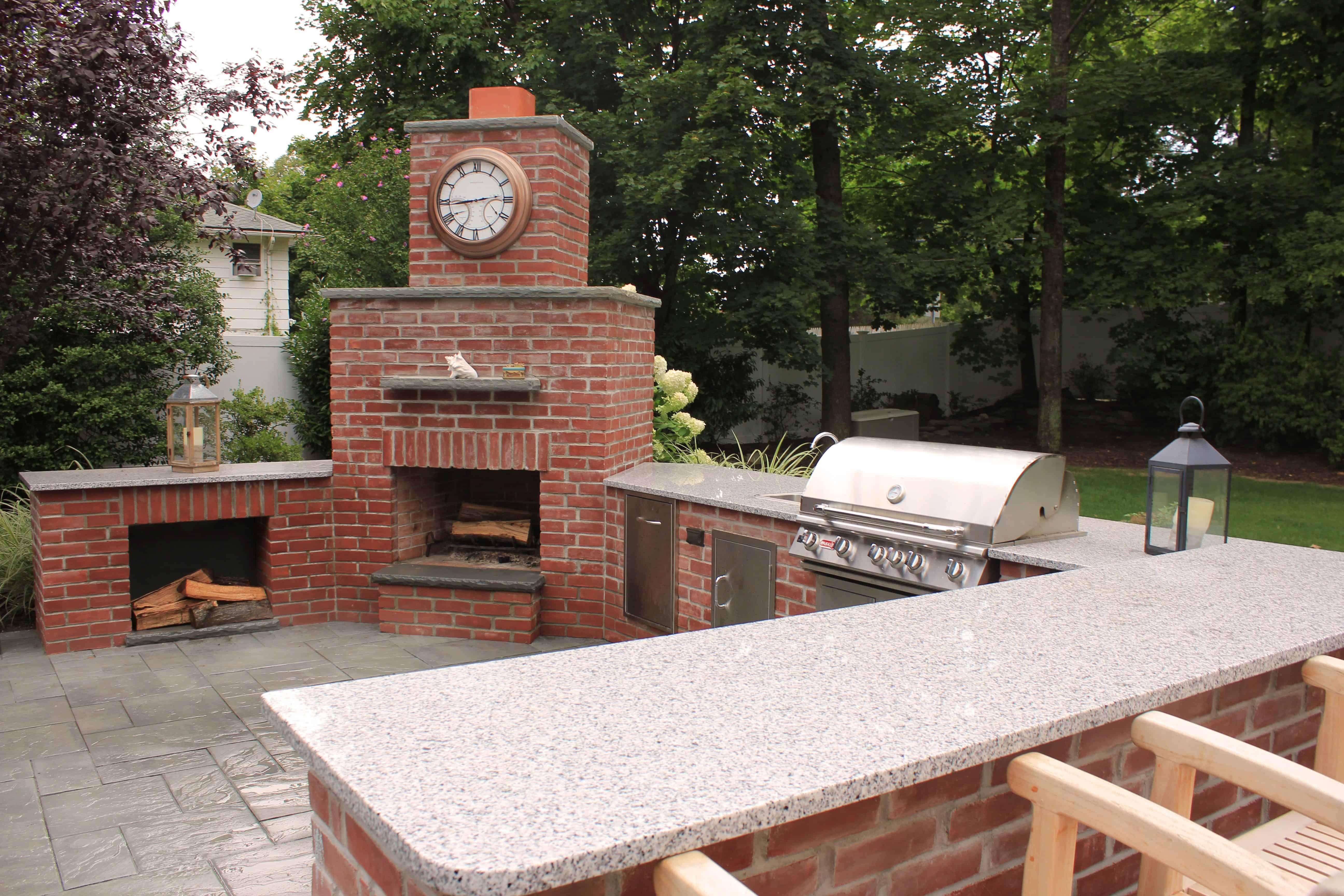 red stone outdoor kitchen built in wine racks for cabinets kitchens and bars long island