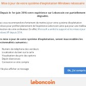 Leboncoin - popup - fin support XP