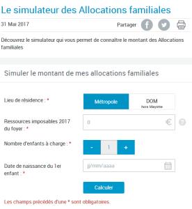 Formulaire de saisie sur le site CAF.fr